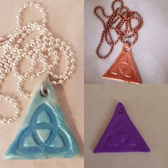 Triquetra Knot Polymer Clay Pendant in Ball Chain Necklace