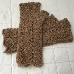 Woman's Fingerless Mitts, Natural Wool, Handspun & Hand Knitted