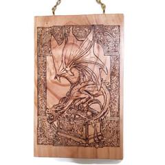 Dragons Treasure Woodburnt Wall Art