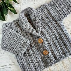 Grey Hand Crocheted Baby Grandpa Cardigan 0-3 months