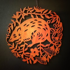 "Jarrah woodcuts: ""Possum"" or ""Bandicoot"" designs"
