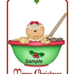 Christmas Gingerbread Man Girl Bowl 8 x Gift Tag Craft  - Printable Download