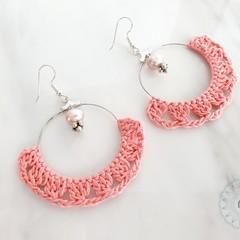 Boho Crochet Fringed Semi-Circle Hoop Dangle Earrings with Pearls -Custom Colour
