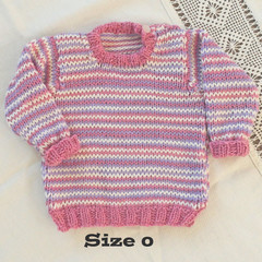 Pretty pink, lavender and white jumper, loose fitting, hand knit,  size 0