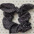 Large Black & white polka dot bunny ear bow - scrunchies - women - children