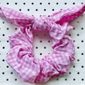 Large Pink & white gingham (medium sized check) bunny ear bow - scrunchies  - wo