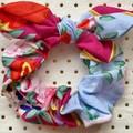 Large Pink & blue floral multi bunny ear bow - scrunchies - women - children