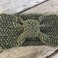 Dark Olive Green Woollen Head Warmer