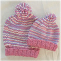 WINTER SALE: Pretty pink, lavender and white jumper, hand knit,  size 0