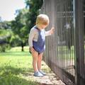 Blue Linen Baby Romper - Baby Boy Linen Overalls