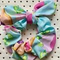 Large Aqua & pink floral multi bunny ear bow - scrunchies - women - children