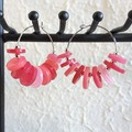 Modern Circle button Fringe Statement Anxiety hoop earrings , Pink Silver