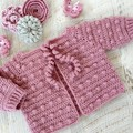 Pale Rose Hand Crocheted Baby Bobble Cardigan  0-3 months