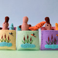 Platypus in a Sleeping Bag, miniature felt play set, wool felt, Australia animal