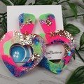 80's Pop Heart Glitter Resin - Stud Dangle earrings