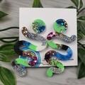 Tiffany Winding Road - Glittering - Drop Resin - Stud Dangle earrings