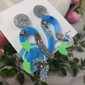 Tiffany  Wave - Glittering - Drop Resin - Stud Dangle earrings