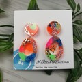80's Pop Egg - Glittering - Drop Resin - Stud Dangle earrings