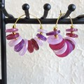 Colourful Circle button Fringe Statement Anxiety hoop earrings , Purple Gold