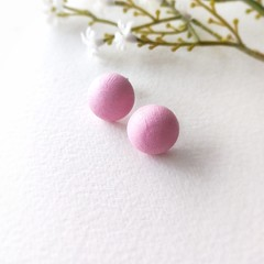 Surgical Steel Baby Pink Jewelry Handmade Wooden Stud Statement Earrings