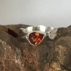 Spessartite Garnet and Silver Ring.