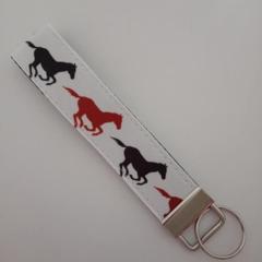 Brown and black horse print key fob wristlet