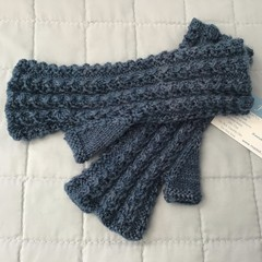 Woman's Fingerless Mitts, Pure Wool, Handspun & Hand Dyed