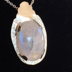 Moonstone and Fine Silver Pendant