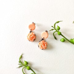 Surgical Steel Peach Boho Jewelry Handmade Polymer Clay Stud Statement Earrings