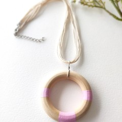 Minimalist Baby Pink Jewelry Handmade Wooden Statement Necklace