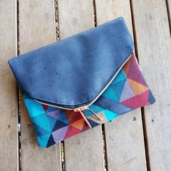 Navy geometric foldover bag