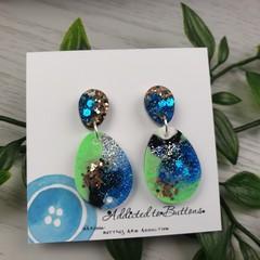 Tiffany  Midnight Oval - Glittering - Drop Resin - Stud Dangle earrings