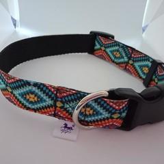 Blue aztec print adjustable dog collar