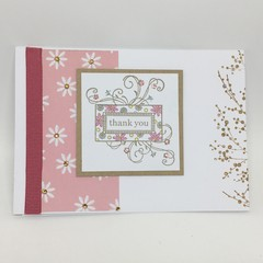 Thank You Card - Flourished Stamp, pink and Kraftedg