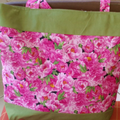 Tote Pink Fresh Flowers  with Avocado Green Fabric  Lined Box Base