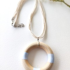Minimalist Baby Blue Jewelry Handmade Wooden Statement Necklace