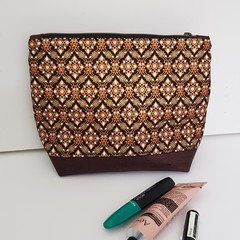 Chocolate and gold cosmetics bag