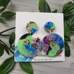 Tiffany Midnight Circle - Glittering - Drop Resin - Stud Dangle earrings