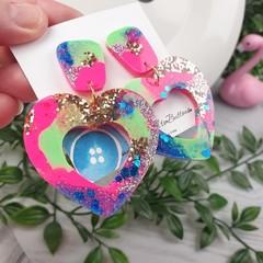 80's Pop Heart Glitter Resin - Stud Dangle earrings