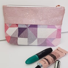 Pink Geometric Cosmetics bag