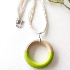 Minimalist Baby Green Jewelry Handmade Wooden Statement Necklace