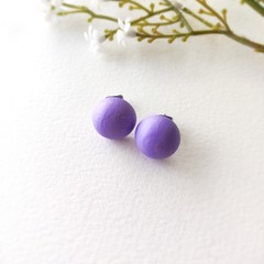 Surgical Steel Baby Purple Jewelry Handmade Wooden Stud Statement Earrings