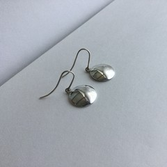 Small domed disc / disk drop earrings handcrafted in sterling silver 925