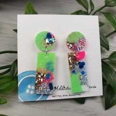 Tiffany Rectangle - Glittering - Drop Resin - Stud Dangle earrings