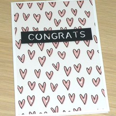 Engagement / Wedding /  Anniversary Card - heart print