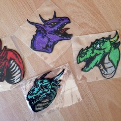 """Dragon Heads"" Iron-on Badges."