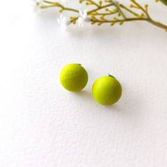Surgical Steel Baby Green Jewelry Handmade Wooden Stud Statement Earrings