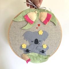 Koala felt and linen embroidery hoop wall art, room decor,  australiana