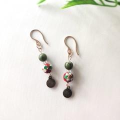 Stainless Steel Boho Fine Jewerly Handmade Jade Gemstone Statement Earrings