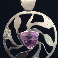 Amethyst fine silver Pendant